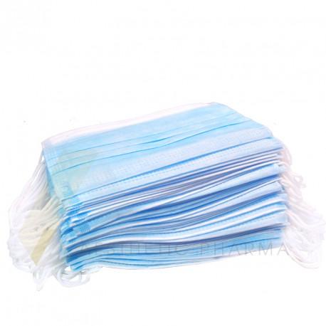Maski z włókniny z gumką 3 warstwowe (50 szt.) | różowe | niebieskie | białe