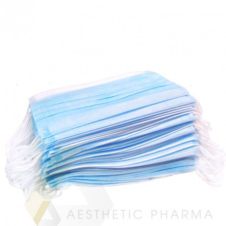 Maski z włókniny z gumką 3 warstwowe (25 szt) | różowe | niebieskie | białe